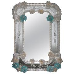 Table Mirror, 1950, Murano Glass Art Glass Seguso Design