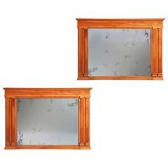Pair of Neapolitan Cherrywood Neoclassical Mirrors