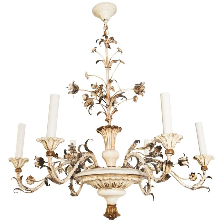 White Painted 20th Century Six-Light Wooden Chandelier