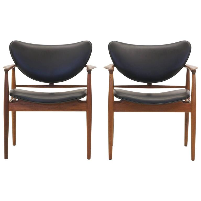 finn juhl model 48 teak chairs early baker production new black