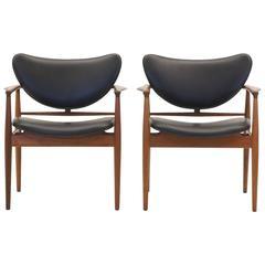 Finn Juhl Model 48 Teak Chairs, Early Baker Production, New Black Leather, Pair