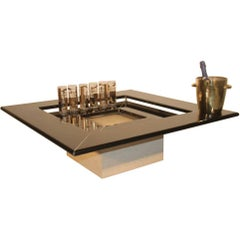 Low in Black Lacquered Wooden Table Travertine Marble Base Paolo Piva Quadro B&B