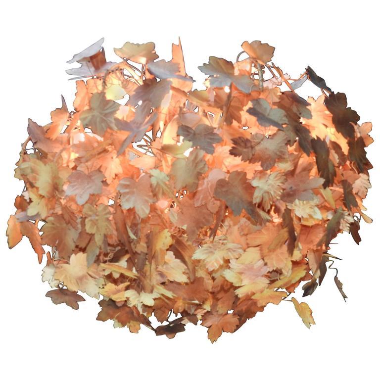 Mid Century Italian Tole Metal Leaf Chandelier