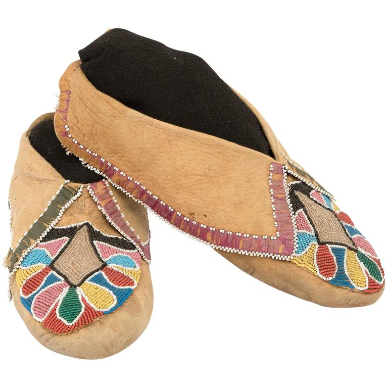 """Very Early Pair of Beaded Moccasins, Prairie """"Woodlands"""", circa 1850"""