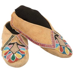 "Very Early Pair of Beaded Moccasins, Prairie ""Woodlands"", circa 1850"