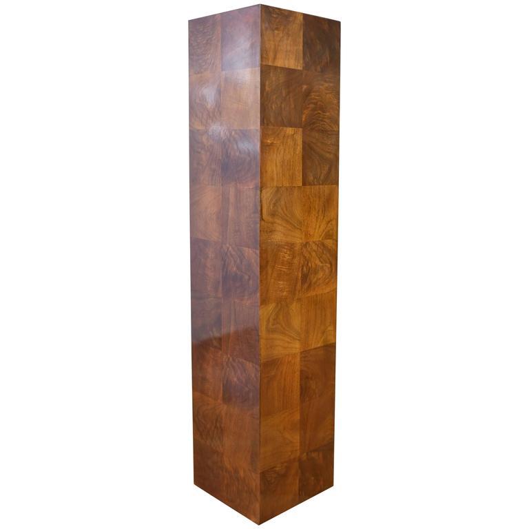 Vintage Milo Baughman-Style Architectural Walnut Pedestal For Sale