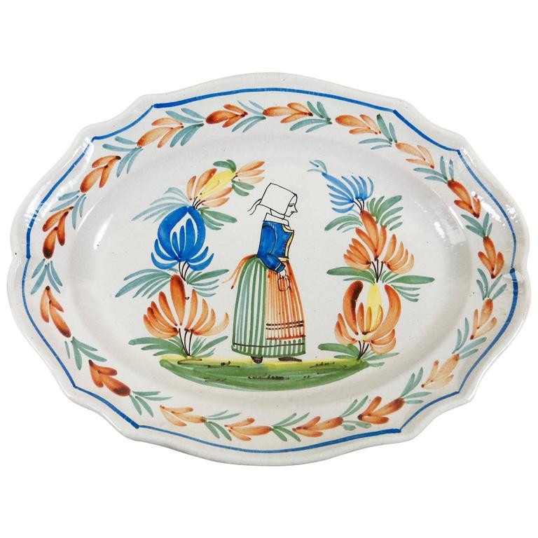 French Faience Quimper Platter Signed Henriot Quimper