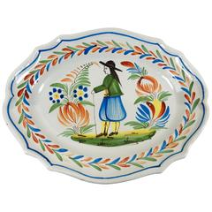 French Faience Quimper Platter Signed Henriot Quimper