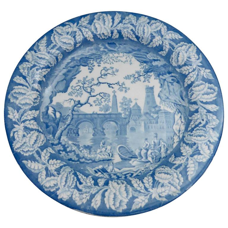 19th Century Blue and White Staffordshire Plate Clews