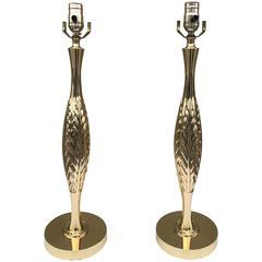 Pair of Brass Mid-Century Hollywood Regency Laurel Table Lamps