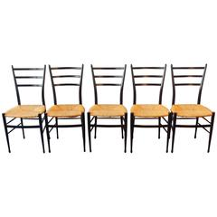 Set of Five 'Spinetto' Dining Chairs by Chiavari, Italy, 1950s