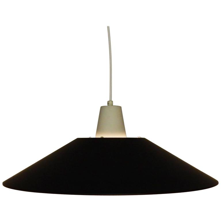 Mid Century Pendant Light In Black And White Lacquered Metal 1950s