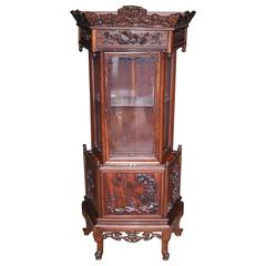 Antique Chinese Padauk Hand-Carved Display Cabinet Relief Carving