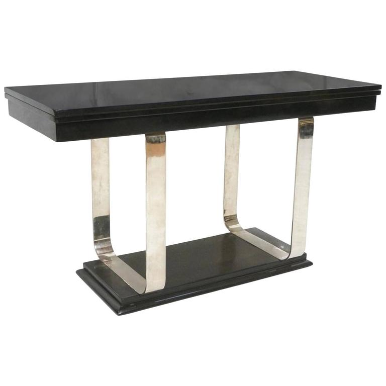 Art Deco Lacquer And Chrome Console Or Dining Table For