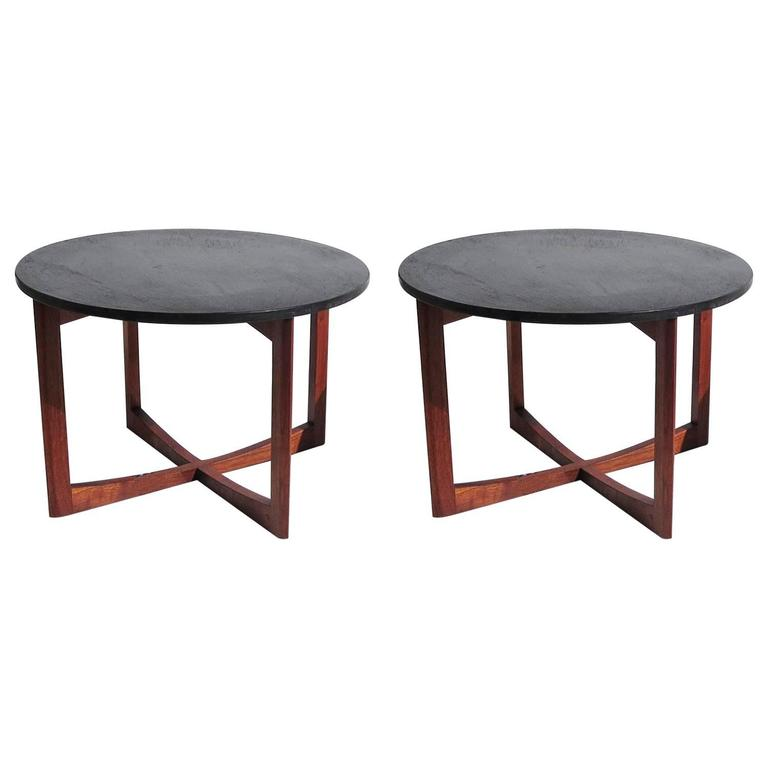 Pair of Mid-Century Side Tables in Walnut and Slate 1