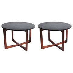 Pair of Mid-Century Side Tables in Walnut and Slate