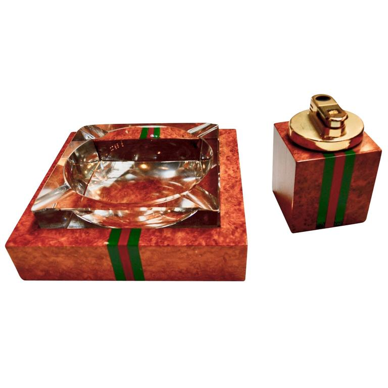 Gucci Lighter And Ashtray Set In Burl Wood At 1stdibs