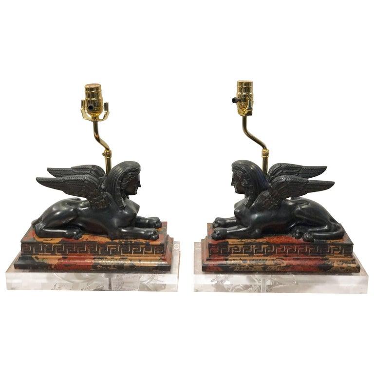 Pair of Grand Tour Style Models of the Greek Sphinx, Now as Lamps