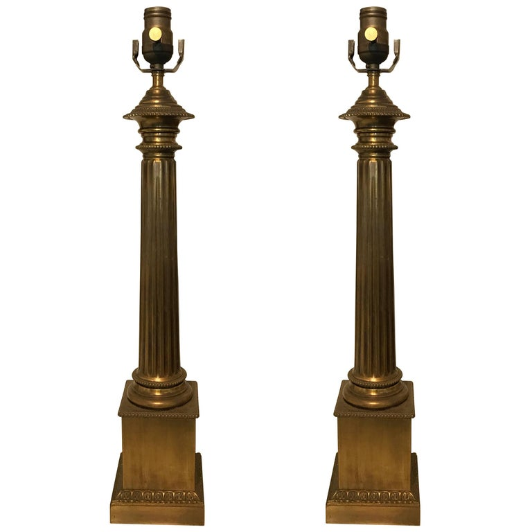 Pair of French Neoclassical Patinated Brass Column Lamps