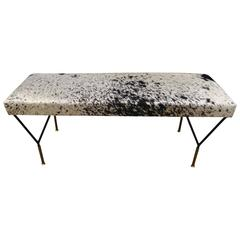Mid-Century Italian Metal & Brass Bench in Black & White Cowhide, Pair Available