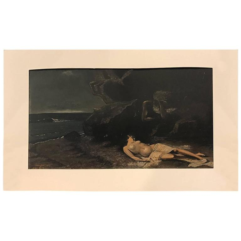 Dramatic Griseille Painting with Poseidon and Woman, Signed and Dated 1891