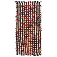 Banded Tribal Kilim Rug with Colorful Poms