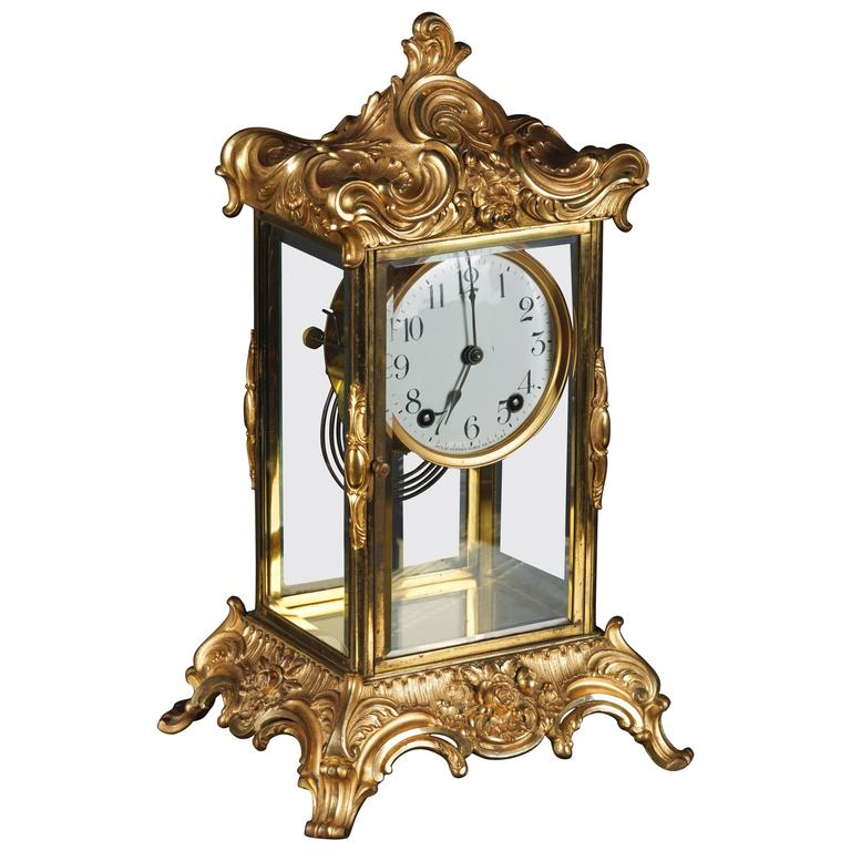 Fireplace Design fireplace clock : 19th Century Napoleon III Fire-Gilt Fireplace Clock For Sale at ...