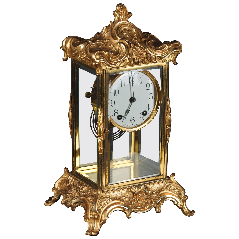 19th Century Napoleon III Fire-Gilt Fireplace Clock