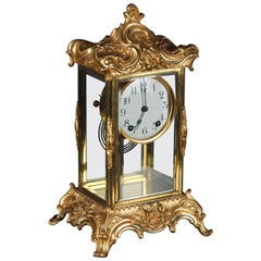 19th Century Napoleon III Fire-Gilt Fireplace Clock