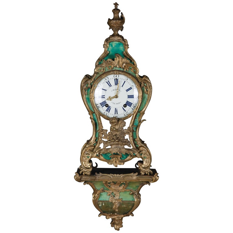 18th Century Louis XV French Bronze-Gilt Clock on Console For Sale