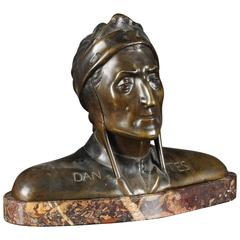 20th Century Historicism Bronze Bust on Marble Base Dante Alighieri