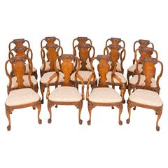 Set of Fourteen Burr Elm Queen Anne Style Chairs