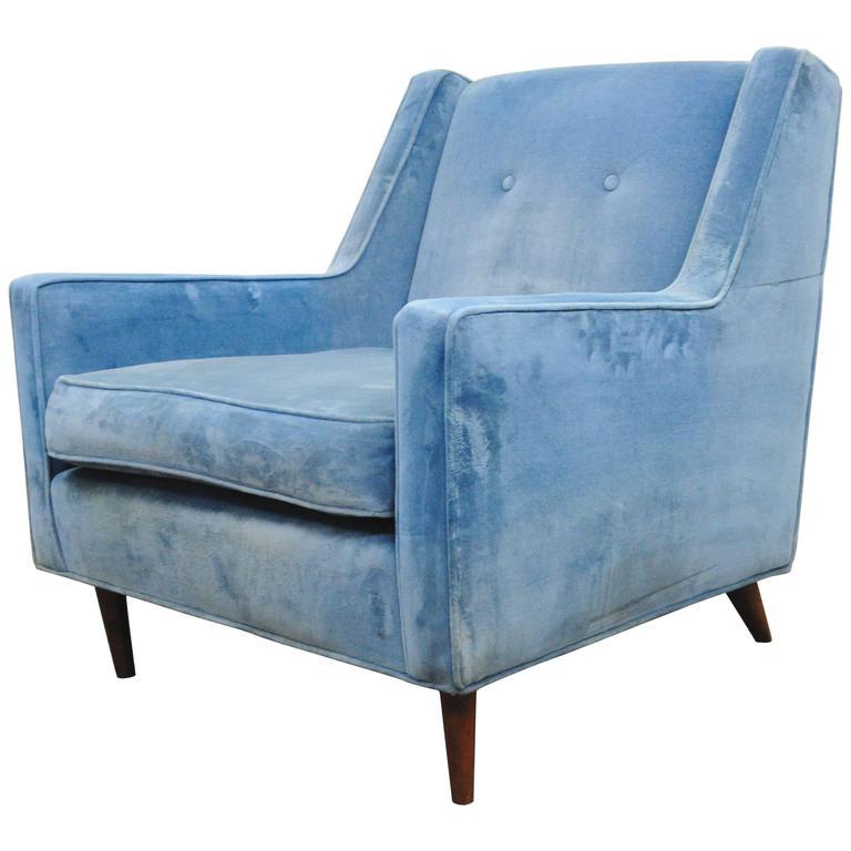 Vintage Mid-Century Modern Blue Club Lounge Chair after Paul McCobb Walnut Frame