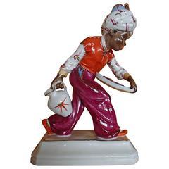 19th Century Blackamoor Porcelain Figurine Signed by Hugo Meisl