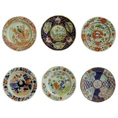 Early Mason's Ironstone Plates, Harlequin Set of Six, Some Rare Patterns, Ca1815