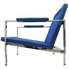 Mid-Century Modern Chrome Flat Bar Lounge Armchair Attributed to Milo Baughman