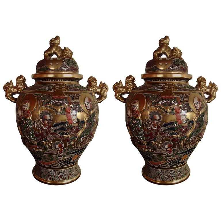 Pair of Satsuma Vases Porcelain with Lid For Sale
