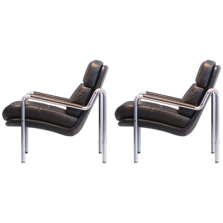 Rare Jørgen Kastholm Easy Armchairs Set of Two Kusch Gmbh 1970s Black Leather