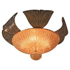 Murano Glass Semi Flush Mount Chandelier by Barovier e Toso -1