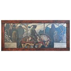 """Knight on Horseback,"" Arts & Crafts and Art Nouveau Medieval Revival Mural"