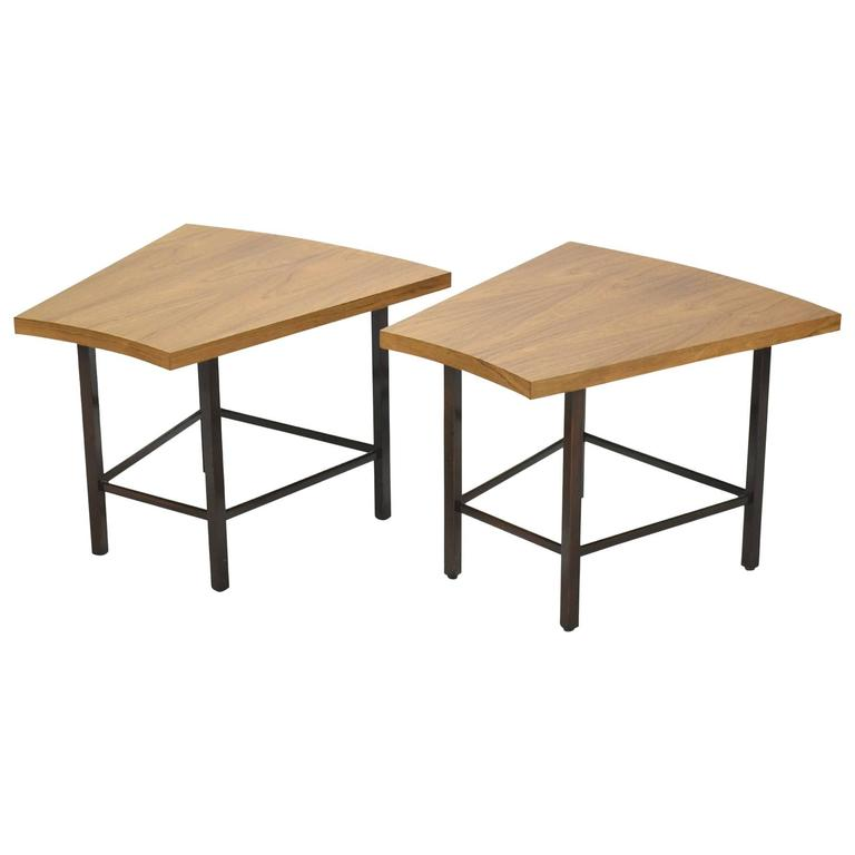 Harvey Probber Pair of Trapezoidal Side or End Tables For Sale