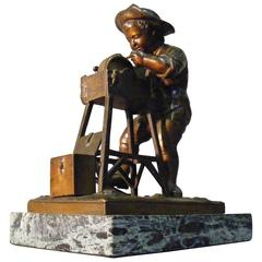 Bronze Statue of a Knife Grinder by Charles Menn