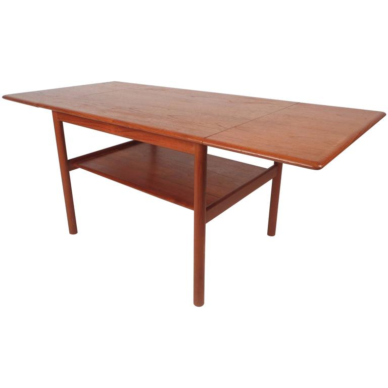 Mid Century Lane Copenhagen Drop Leaf Coffee Table: Mid-Century Modern Danish Teak Drop-Leaf Coffee Table At