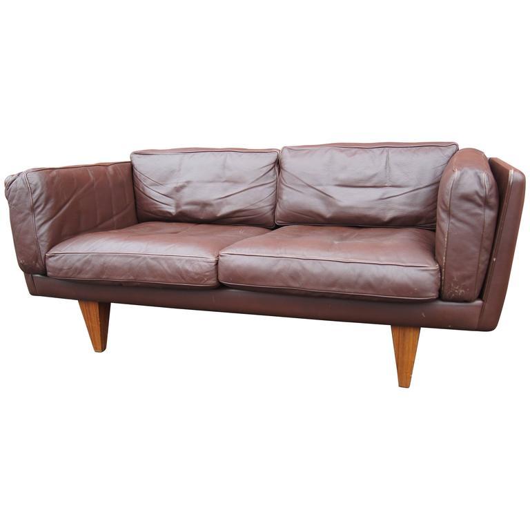 Brown Leather V11 Settee by Illum Wikkelsø for Holger Christiansen