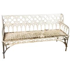 White Painted Cast Aluminum Gothic Bench