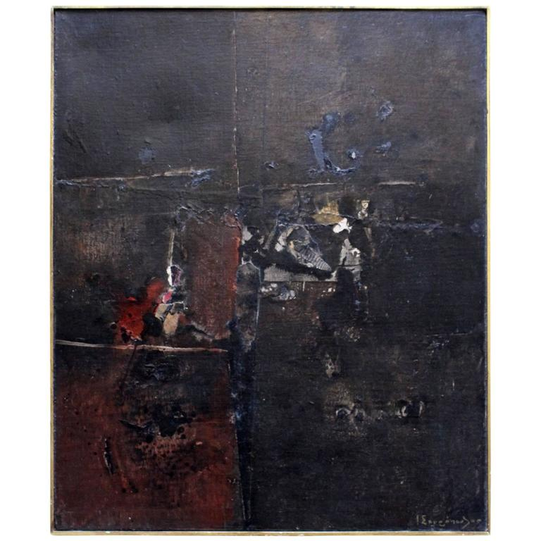 Mixed Media Painting by Mid-Century Greek Artist Yiannis Spyropoulos