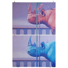 Pair of Rhinoceros Paintings by Paul Huber