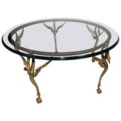 Art Deco Round Brass and Glass Coffee Table