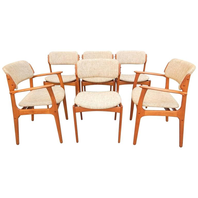 Mid-Century Danish Modern Erik Buck Dining Chair, Set of Six
