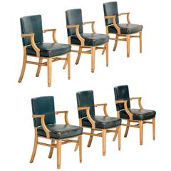 Set of Six Leather and Maple Wood Dining Chairs, circa 1940